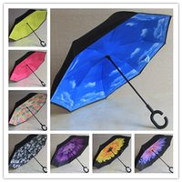 Wholesale Double Parasol Umbrella - Inverted Parasol Umbrella UV Protection Double Layer Reverse Rainy Sunny Umbrella with C J Handle Self Standing Inside Out Sun Umbrella