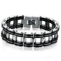 "Wholesale Wholesale Bangle Cuff Watches - Wholesale- 21cm(8.27"")*18.6mm Shiny Jewelry 316L Stainless Steel Silver Black Watch Belt Bracelet Cool Boy Men's Cuff Bangle"