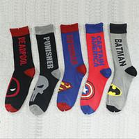 Wholesale Hero Brand - Super Heroes mens socks Captain America Spider-Man Superman men's knee high sports basketball running long men's socks 0601353