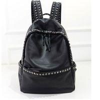 Wholesale Big Womens Bags - Wholesale- Korean Style Large Size School Bags For Teenage girls Lady PU Leather casual Rivet Backpacks Womens Waterproof Big Travel Bags