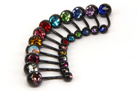 Wholesale Anodized Belly Ring - belly button ring mix colors Anodized black stainless steel body piercing jewelry double gem navel belly ring