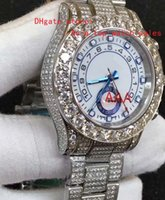 Wholesale Sapphire Round Gem - 2017 latest version 116680 White dial 44mm Large diamond bezel watchcase strap Set auger High quality automatic mens watch