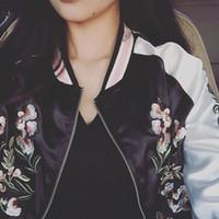 Wholesale Cardigans Unisex - 2017 Spring New Fashion Floral Print High Quality Vintage Women Bomber Jacket Womens Spring Jackets With Zipper Unisex Baseball Jackets