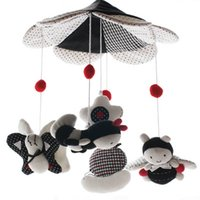 Wholesale Baby Songs Animals - Wholesale- SHILOH 60 Songs Musical Mobile Baby Crib Rotating Music Box Plush Doll Black and White Color Bee Brinquedos Bebes