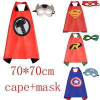 Wholesale Dress Up Masks - Gold Hands 70*70 CM Superhero Capes with Masks - Kids' Robin Spiderman Wonder woman for Kid's Dress up Party Free Shipping