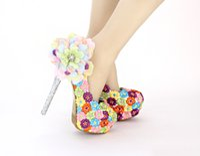 Wholesale Night Club Heels - Colorful Flowers Cinderella Shoes Beaded Rhinestones Bridal Bridesmaid Wedding Shoes 2017 Prom Evening Night Club Party Super High Heels