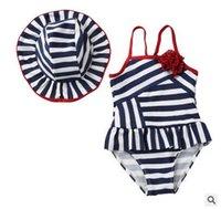 Wholesale Swim Suit Girls Stripes - Children swimsuits stripe Stereo flower swimwear with swim hats 2pcs sets Girls suspender swimwear Kids spa beachwear Bathing suits C1767