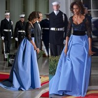 Wholesale Michelle Obama Fashion - 2016 Michelle Obama Sexy Formal Evening Dresses Black Lace Sequined Women Gowns With Half Sleeves Red Carpet Celebrity Dress