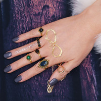 5 Pcs / Set Antique Gold Imitation Gemstone Lady Finger Rings