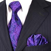 Wholesale Purple Tie Square Pocket - Necktie Sets Floral Purple Navy Blue Azure Khaki Mens Ties Handkerchief 100% Silk Jacquard Woven Free Shipping Tie Pocket Square