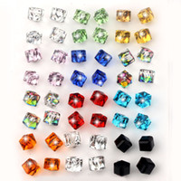 Wholesale green stone prices - VIVILADY 24pairs lot Fashion Crystal Stud Earrings Women Clear Red Blue Black Green CZ Cube Stone Jewelry Gift Wholesales Price