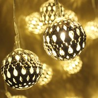Wholesale Iron Xmas Tree - LED string light 3M 20Leds battery Morocco iron Ball String Fairy Lights Xmas Wedding Party Home holiday Decoration Lamp Bulb
