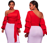 Wholesale Long Sleeve Red Crop Top - Autumn winter Blouse 2018 Women Clubwear Sexy Asymmetrical Shoulder Wrap Belt Ruffle One-Sleeve Crop Top Blusas Mujer LC250520