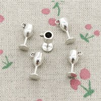 Wholesale Hand Making Jewelry - 118pcs Charms wine glasses 15*6*6mm Antique Silver Pendant Zinc Alloy Jewelry DIY Hand Made Bracelet Necklace Fitting