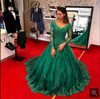 Wholesale Lace Satin Short Robes - 2017 Arabic Modest Green Ball Gown Evening Dresses V-Neck Sheer Long Sleeves Robe De Soiree Formal Prom Dress vestido de fiesta