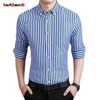 Wholesale Mens Stripped Shirts - Wholesale- GustOmerD New Fashion Brand Strip Casual Men Shirt Long Sleeve Slim Fit Shirt Men Business Mens Dress Shirts