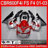 Wholesale Honda F4i Black - 8Gifts 23Colors For HONDA CBR 600 F4i 01-03 CBR600FS FS 28HM20 CBR600 F4i TOP red black 2001 2002 2003 CBR 600F4i CBR600F4i 01 02 03 Fairing