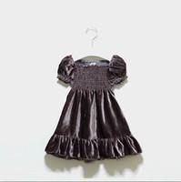 Wholesale Velvet Lining Clothes - 2017 Summer New Girl Dress Velvet Pleat Princess Party Dress Children Clothing 2-6Y 30660