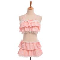 Wholesale Cute Sexy Bikini Girl - Sexy Pink Black Bikini Swimwear Tops+Skirt Two-piece Set Cute Girls Ruffles Lolita Swimsuit Japanese Style S M L