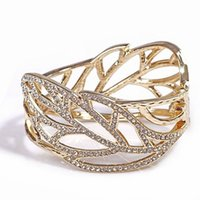 Wholesale Bird Rhinestone Bracelets - Wholesale- 2013 Gold Alloy Stereo Full Rhinestone Bird nest Cutout Leaves Oval Opening Bracelet Factory Wholesale