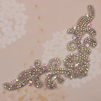 2 шт. AB Rhinestone Applique Patch Sew On Garment Motif Glass Appliques Свадебные аксессуары Iron Diamante Shiny Ctystal Trim