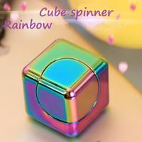 Wholesale Metal Puzzle Toy - Newest Rainbow Colourful Aluminium Alloy Fidget Cube Fidget Spinners Metal EDC Hand Spinner in Toys Wholesale Top Quality DHL