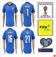 Wholesale Italy World Cup Jerseys - 2018 Italy World Cup Jersey INSIGNE ZAZA EL SHAARAWY PIRLO MARCHISIO De Rossi Bonucci Verratti Buffon Baggio Italia Soccer Football Shirt