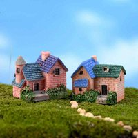Wholesale miniature bonsai for sale - Group buy Cute Mini Brick Villa Miniature House Fairy Garden Micro Landscape Moss Bottle Bonsai Decoration Material Resin Craft styles Color Random