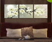 Wholesale oil painting canvas sizes resale online - 3 Panel Pure Handicraft Modern Art Oil Painting Beautiful Magnolia flower Home Wall Decor on High Quality Canvas size can be customized
