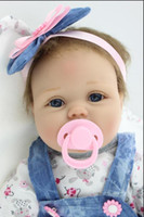 Wholesale Reborn Doll Dresses - Nicery Reborn Baby Doll Soft Silicone Girl Toy 22Inch 55cm Blue Dress Lucy Realistic Baby Puzzle Recycling Doll Toy Gift