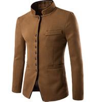Wholesale Chinese Fashion Tunic - Wholesale- Jacket Men Winter 2017 Coat Male Bomber Jacket Men Wool Chinese Tunic Suit Brand Outwear Mens Cotton Jackets Clothing XXL