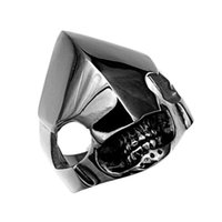 Wholesale Super Skull Rings - Retro Prestige Robot skull Shaped Rings for Men Hyperbole Punk Personality Titanium Steel Party Hiphop Super Wide Male Rings