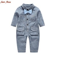 Wholesale Wholesale Pocket Jumpsuit - Infant romper boys stripe bows doule pocket denim romper toddler kids long sleeve lapel soft cowboy jumpsuits baby birthday clothes T2784