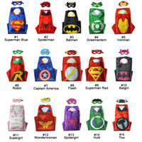 Wholesale Hot Superhero Costumes - hot Double side L70*70cm kids Superhero Capes and masks - Spiderman Flash Supergirl Batgirl Robin for kids capes with mask by world-factory