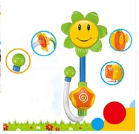 Wholesale Water Toy Package - Kids Children Baby Bath Toy Sunflower Shower Faucet Bath Water Play Learning Toy Gift Retail Package DHL Free shipping