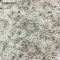 Wholesale and retail New arrival african fabrics high quality white cord guipure lace for party dress Nigerian beaded lace fabric A76WB02