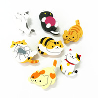 Wholesale Safety Pins Stainless Steel - Wholesale- X135 Cartoon Cute Fortune Cat Kitty Wood Brooch Pins Safety Pins Jeans Bag Decoration Brooches Gift Wholesale