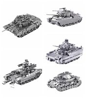 Wholesale 3d Puzzle Tank - DIY 3D Metal Puzzles for children Adults Model Jigsaw Metal Army T90 Tank German Tiger Tank Puzzle Metal Micro Model Gift