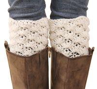 Wholesale Hand Crochet Socks - Wholesale- new hand crochet women short leg warmers fashion girls hollow out Autumn and Winter warm boots cuffs long socks free shipping