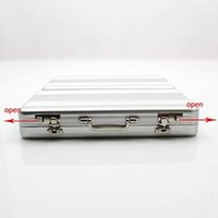 Wholesale Briefcase Metal - Cipher Password Box Aluminum Business Card Storage Box Mini Car Briefcase Business Great Gift Silver Box