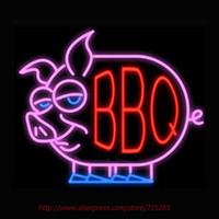ingrosso garage di neon sign-Wholesale-BBQ Pig Real NEON SEGNO Handcrafted Garage Wall Sign Ricreazione Neon Lampadine Ristorante Garage Design Tubo di vetro VD 19x15