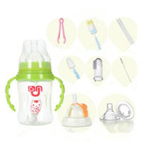 Wholesale Wholesale Buy Bottles - Wholesale-Buy 1 get 10 New Design 2 in 1 Infant Baby Cute Rice Cereal Feeding Bottle Newborn Straw Cup Drinking Bottle Cups With Handles
