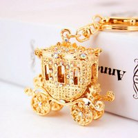 Wholesale Gold Coin Rings For Women - Crystal Pumpkin Carriage Purse Bag Buckle HandBag Pendant Keychain Car Keyrings Holder For Hallowmas Fairy Tale trendy Key Ring gift