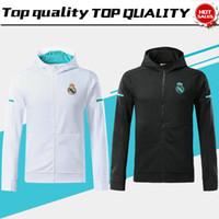 Wholesale polyester hats - Real Madrid long sleeve Jacket suit have hat Soccer Jersey 17 18 Real Madrid white Training uniform 2017 black football uniform jacket