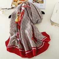 Wholesale Flower Pashmina - Smile Scarf 180*90CM Designed Soft Silk Wrap Brand CC Shawl Big Flower Rose Pattern Scarf Lady Wrap Girl Summer Sunblock Towel A180XSD090