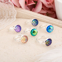 Wholesale Wholesale Scales China - Fashion Silver Plated Mermaid Fish Scale Drusy Druzy Adjustable Ring For Women Men Lady Jewelry NR021