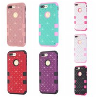 Wholesale Iphone Dual Color Case - 3 in 1 Diamond Crystal Rhinestone Hybrid Plastic Shockproof Dual Color Hard Silicone Gel Case For Iphone 7 Plus 6 6S SE 5 5S Armor cover