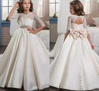 Wholesale Cute Corset Flowers - Princess Ivory Half Long Sleeves Flower Girl Dresses 2017 New Cute Sheer Lace Satin Corset Back Girls Pageant Dresses Custom Made Cheap