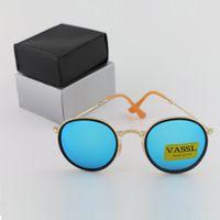 Wholesale Yellow Frame Folding - Hot Summer New Arrival Vassl Brand Designer Mirror Metal Frame Folding Round Sunglasses for Man and Women Unisex Sun Glasses
