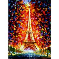 Wholesale Eifel Tower - Hand Painted modern art landscape paris eifel tower lighted Leonid Afremov palette knife paintings home decor